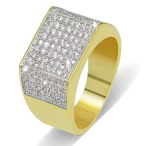 18k Real Gold Cubic Zirconia Micro Pave Men's Ring
